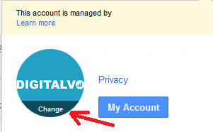 Click on Change on the Profile Picture in Gmail